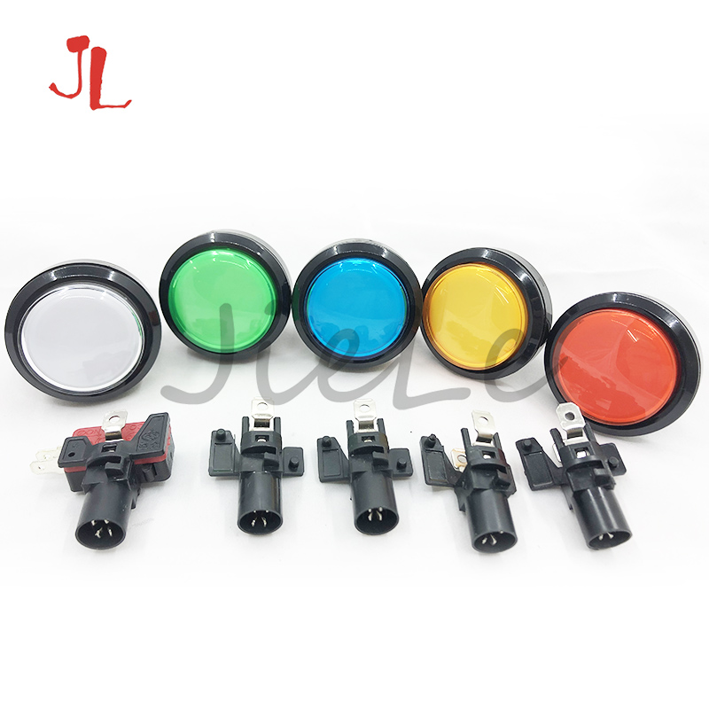 45mm Push Button Arcade Button Led Micro Switch 5V/12V Power Button Switch Set Green/Yellow/Red/White/Blu