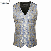 цена New arrives men smart casual suit vest Cashew flowers pattern vest fashion Double-breasted design vest men's plus size Tops онлайн в 2017 году