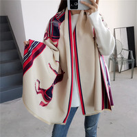 Luxury Brand 2019 Winter Scarf Women Fashion Horse Print Shawls and Wraps Thick Warm Cashmere Scarves Pashmina Large Echarpe