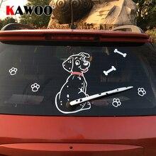 KAWOO autocollant Animal de dessin animé, autocollant de voiture, mignon chien chiot, Auto réfléchissant, pour essuie glace arrière
