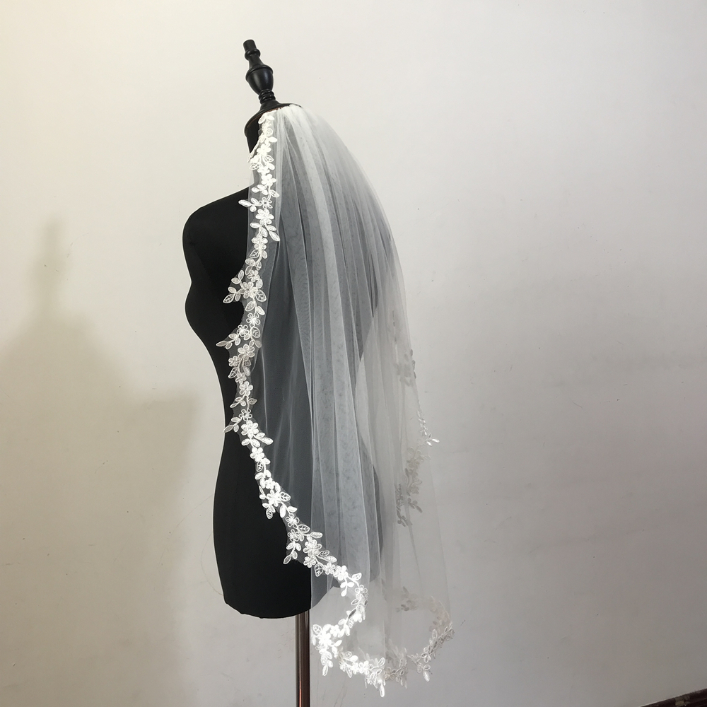 Real Photos Wedding Veil Bridal Veil One Layers Lace Veil White/Ivory Bride Wedding Accessories Veils