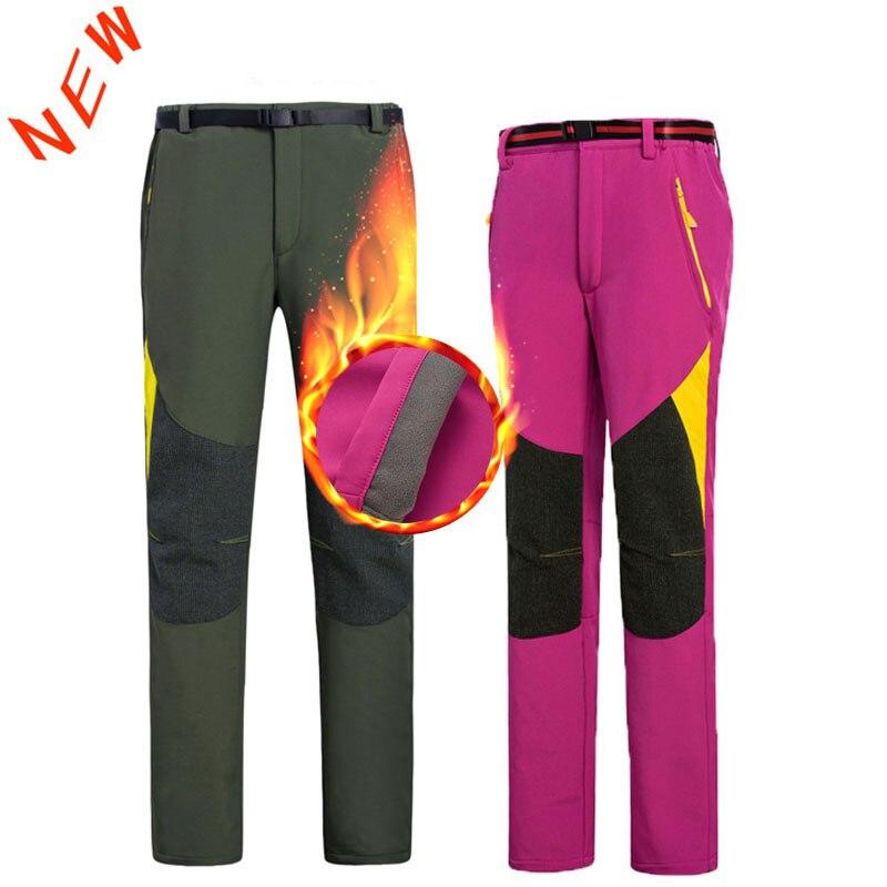 2020 Ski Hiking Pants Man Womne Waterproof Softshell Winter Outdoor Trousers Sports Camping Trekking Cycling Ski Fleece Pants