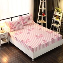 2pcs Pillow covers + 1pcs Bed sheet Polyester with Cotton Printed Solid Fitted Sheet Mattress Cover Four Corners With Elastic solid fitted dress with choker