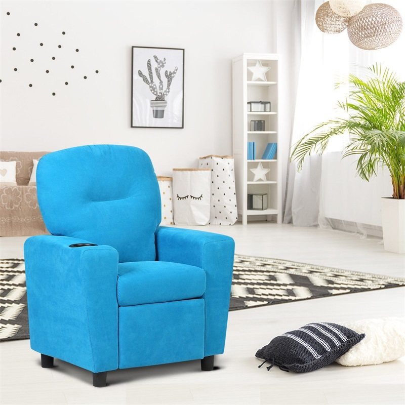 Blue / Brown Kids Recliner Arm Chair Kid Sofa High Quality Living Room Furniture HW54208BL