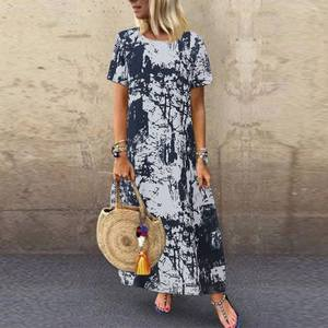 ZANZEA 2020 Printed Maxi Dress Women's Summer Sundress Casual Short Sleeve Vestidos Kaftan Female Graffiti Tunic Robe Plus Size(China)
