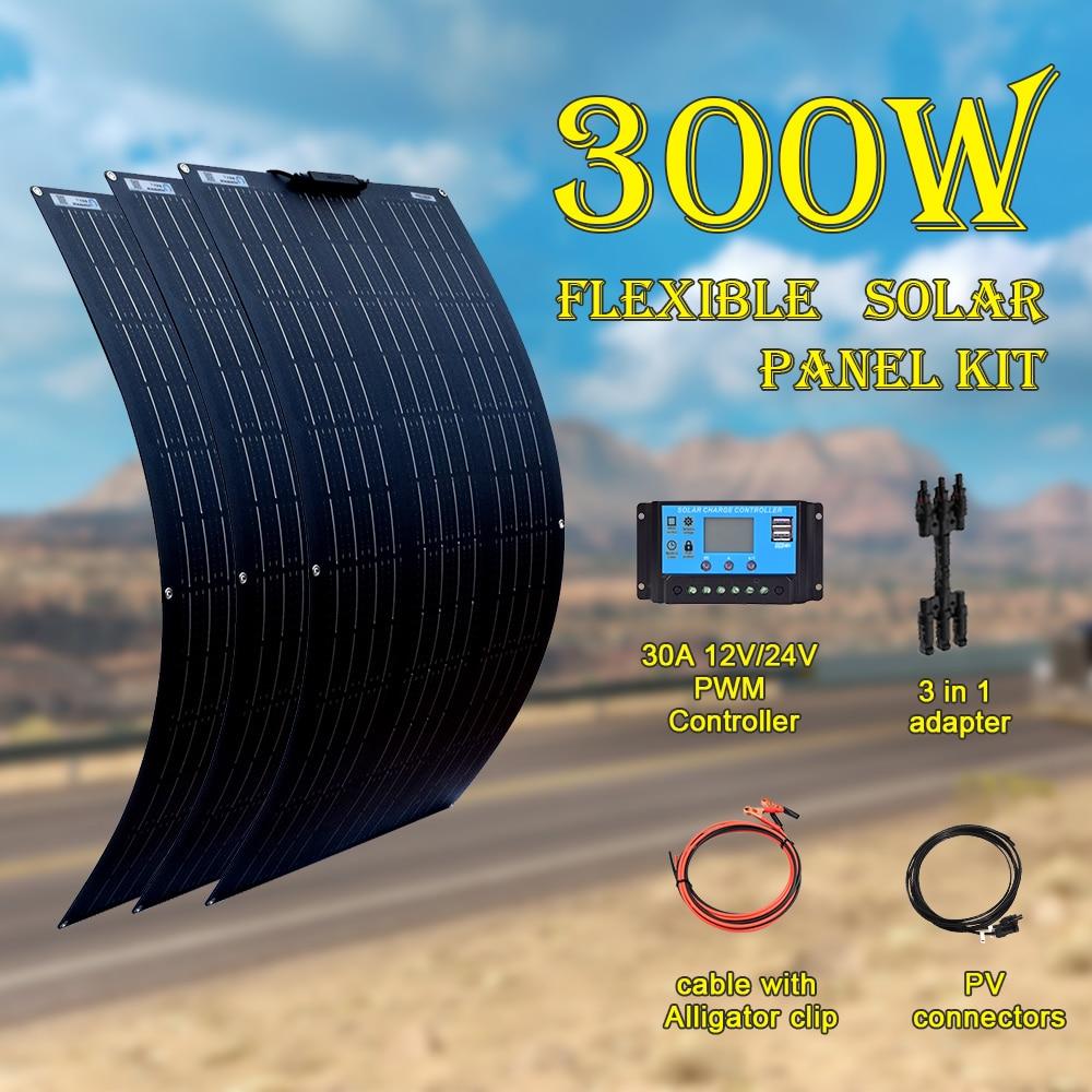 XINPUGUANG 18V 100 W 200 WATT 300W 400W Flexible Solar Panel Kit E For 12V 24V Battery Car RV Home Outdoor Power Charging