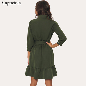 Image 5 - Vestido de ladrillo rojo para mujer, de moda de otoño, con cinturón de volantes y cuello vuelto, Mini Vestidos 3/4 mangas, vestido informal verde y Beige