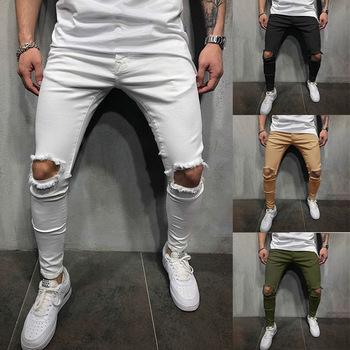 Męskie spodnie Skinny Casual 2021 Hip Pop Hole spodnie Harem Streetwear moda męska Cargo Jogger spodnie do ćwiczeń Design Sportswear tanie i dobre opinie Aotorr Cztery pory roku CN (pochodzenie) POLIESTER HIP HOP Mieszkanie z dziurami Pełna długość EY0078 średniej wielkości