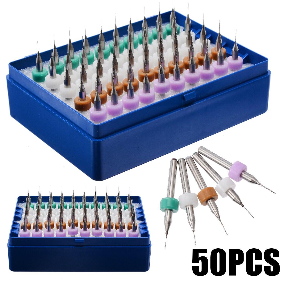 50Pcs/Set Print Circuit Board Drill Bits 0.25/0.3/0.35/0.4/0.45mm Carbide Micro Drill Bits CNC PCB Twist Drill