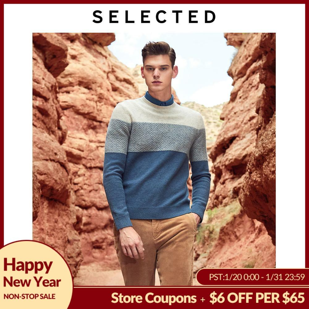 SELECTED New Men's Wool Stitching Pullovers Winter New Round Neck Sweater S | 419425501