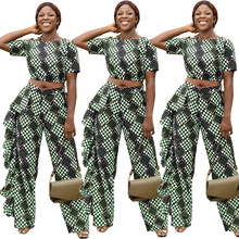 2019 spot Europe and the United States hot ruffled ladies wave point short-sleeved pants suit plus