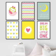 Owl Girl Pink Heart Moon Star Nordic Posters And Prints Wall Art Canvas Painting Cartoon Pictures For Baby Kids Room Decor