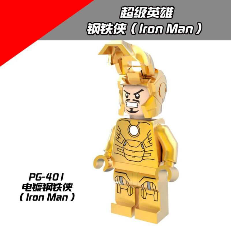 PG401 Super hero TheAvengersi Marvel hero Gold plated version Iron mann Plating Iron Mani Legoing Series Assemble Building Block