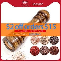 مطاحن الملح والفلفل ، مطحنة فلفل خشب متين مع مطحنة سيراميك قوية قابلة للتعديل 5 8 10 -أدوات مطبخ من Leeseph