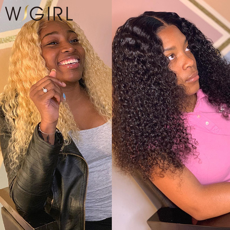 WIGIRL Afro Kinky Curly Frontal Wig Deep Wave Lace Front Human Hair Wigs  Bob Short Water Wave For Black Women 613 Blonde Jerry