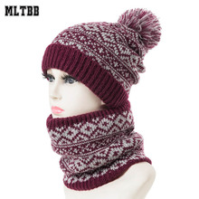 Women Winter Scarf-Set Beanies-Hats Pompom-Ring Skullcap Knitting Warm Plus And MLTBB