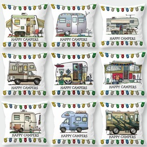 Silstar Tex Happy Campers New Design Cushion Cover Various Car Patterns Pillow Case for Chair Sofa Car(China)