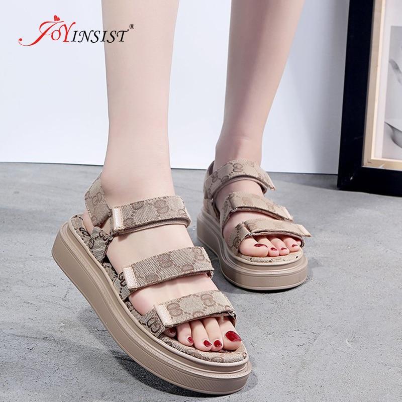 Women Sandals Slip On Elastic Band Peep Toe Female Summer Shoes Platform Flat Sandals Ladies Comfortable Footwear Hook And Loop