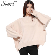 Sparsil Women Autumn Wool Sweaters Cashmere Half Turtleneck Batwing Sleeve Oversized Loose Solid Knitted Pullovers