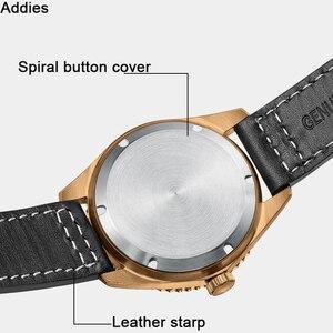 Image 4 - Addies mekanik bronz saatler erkekler 20 bar dalış NH35 hareketi C3 ışık safir kristal otomatik bronz İzle Diver 200m