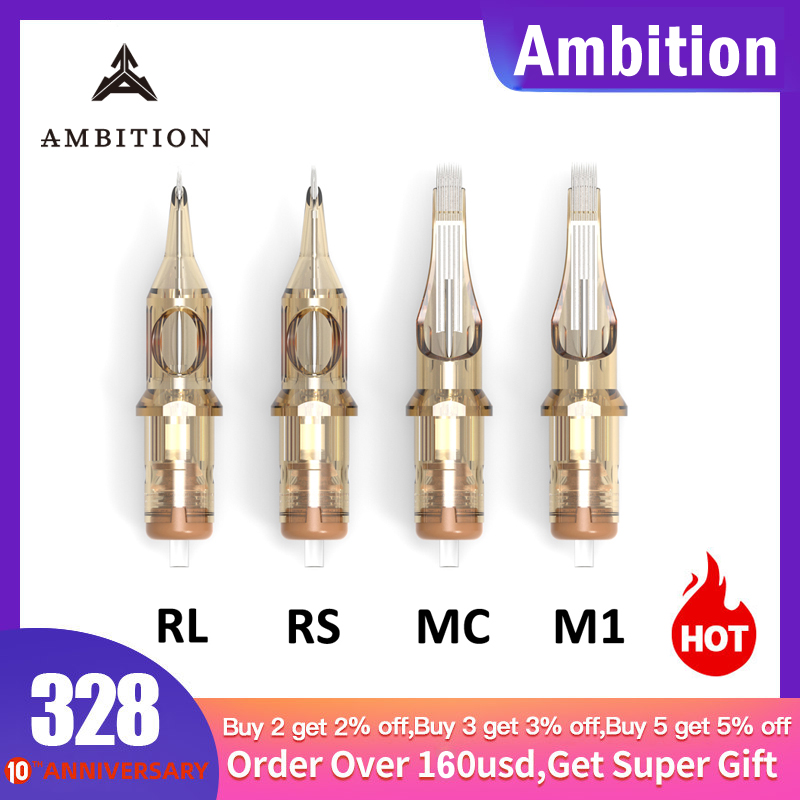 Ambition Revolution Tattoo Needles Cartridge Level A 0.35mm High Qualiy Disposable Tattoo Cartridge Mix Supplies 1rl 3rl 5rl 7rl