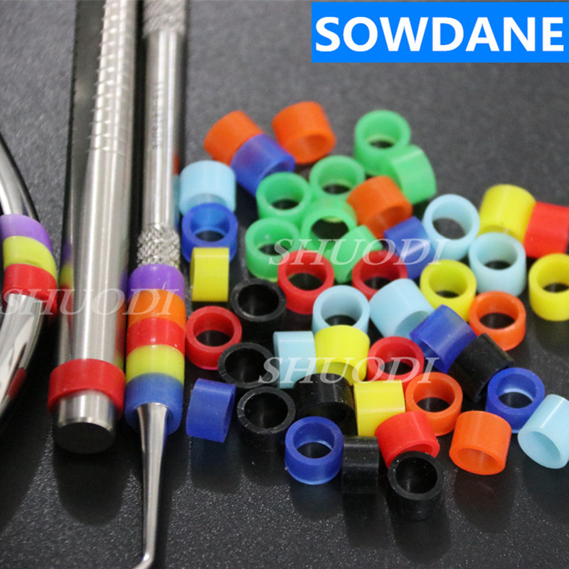 50 Pcs Multi-Color Autoclavable Universal Dental Orthodontic Silicone Instrument Color Code Rings (Dia.5mm)