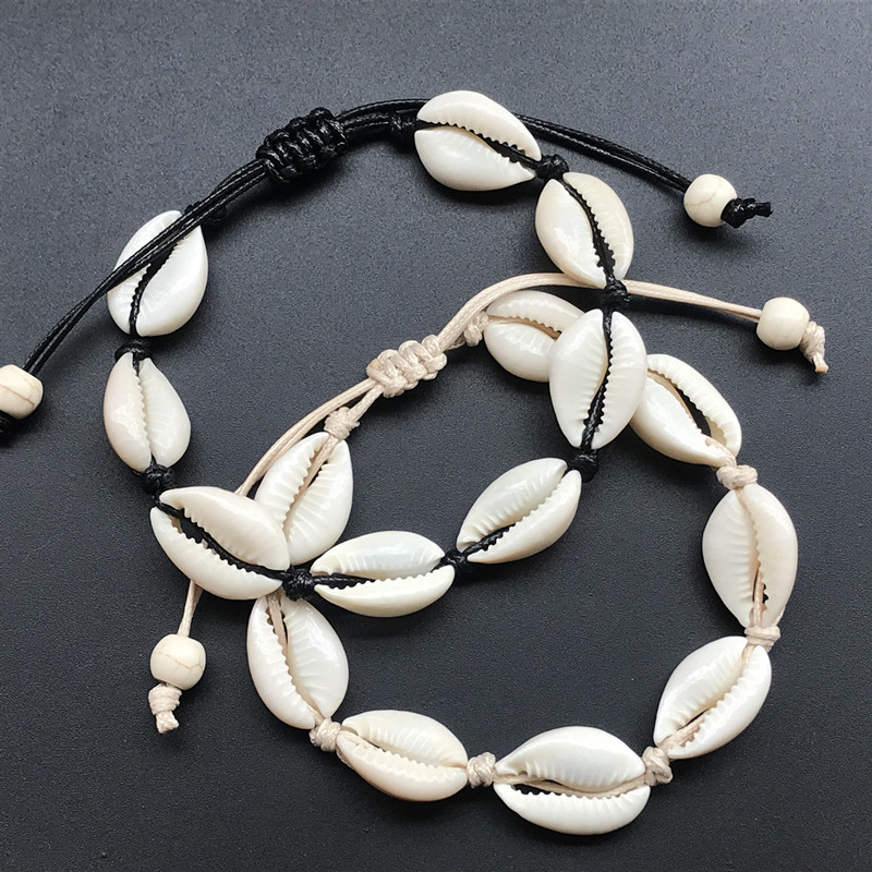 Rope Chain Handmade Natural Seashell Hand Knit charm Bracelet Shells Bracelets Women Accessories Beaded Strand Bracelet