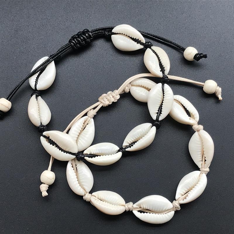 Rope Chain Handmade Natural Seashell Hand Knit charm Bracelet Shells Bracelets Women Accessories Beaded Strand Bracelet
