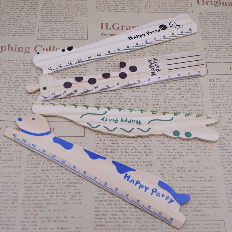 1PCS Cartoon Animal 15cm Scale Ruler Cute Wood Rulers School Supplies Stationery Kids Gift