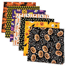7pcs DIY Hand Stitched Children's 100% Cotton Printed Halloween Pumpkin Handkerchief Cloth Material DIY Handmade Crafts(China)