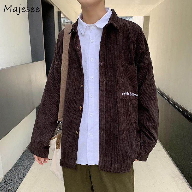 Men Shirts Corduroy Retro Chic Trendy Student All-match Solid Mens Daily Outwear Leisure Long Sleeve Loose Korean Style Ulzzang