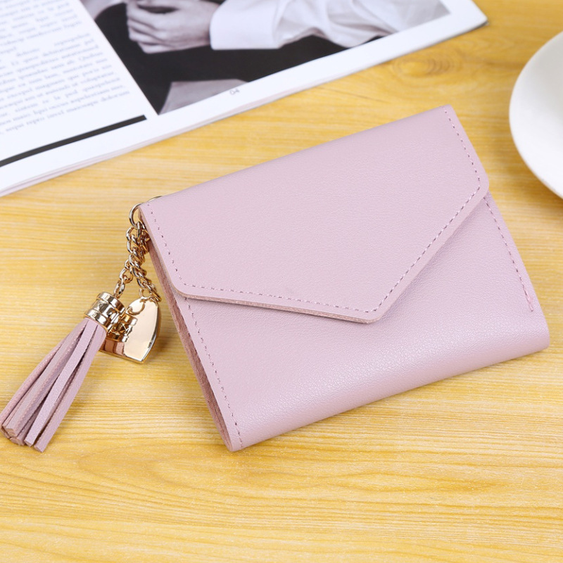 Мини-кошелек с кисточками, женский модный кошелек, женские короткие мини-кошельки, корейские студенческие милые кошельки, женский маленький кошелек для женщин - Цвет: Purple