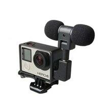 Mini micrófono estéreo Profesional + carcasa de marco estándar para Gopro Hero 4 3 + 3 USB A Adaptador de micrófono de 3,5mm, accesorios de Cable