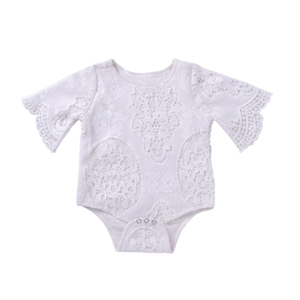 Lovely Newborn Infants Baby Girls Lace Bat Sleeve O-neck Cotton Toddler Bodysuit Romper Jumpsuit Outfits Daily Wear