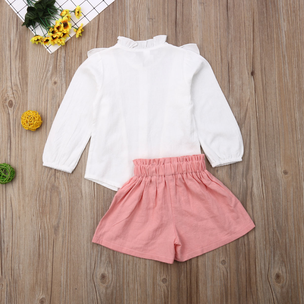 Kids Girl White Long Sleeve Ruffled Blouse Pink Shorts Clothes Set 2 Piece Summer Chidren 39 s Outfits New in Clothing Sets from Mother amp Kids