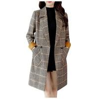 Autumn winter Long Wool Coat Jacquard Plaid Cardigan Coat Korean Loose Winter Coat Ladies Streetwear Cardigan Thick Coat