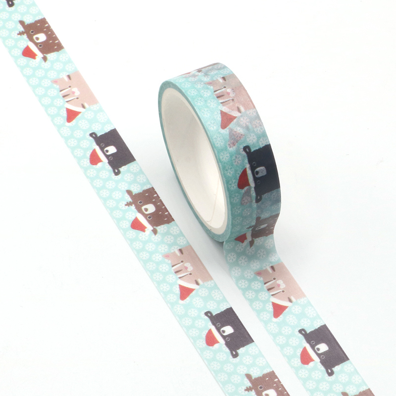 1PC 15mm * 5m Kawaii Animal Cartoon Masking Washi Tape Decorative Adhesive Tape Decor Decora Diy Scrapbooking Washi Tape