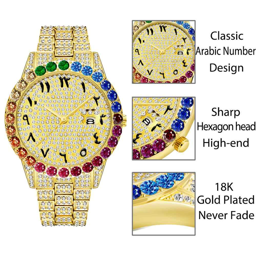 Hot MISSFOX Big RainbowเพชรDaytonaนาฬิกาผู้ชายปฏิทินอาหรับจำนวนชายนาฬิกาควอตซ์Hip Hop Iced OUTนาฬิกา