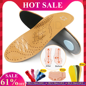 EID High quality Leather orthotic insole for Flat Feet Arch Support orthopedic shoes sole Insoles for feet men and women OX Leg(China)