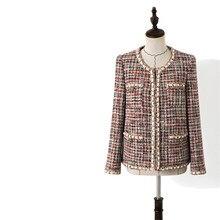 Handmade Luxury Blazer Suits for Women Vintage O Neck Grid T