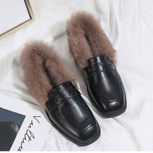 цена на Rabbit Fur Oxford Leather Shoes For Women Winter Fashion Brown Black Flats Ladies Plush Slip On Square Toe Outdoor Flat Loafers