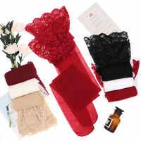 CYHWR Sexy encaje sólido transparente Ultra delgado piernas medias para mujer ropa interior negro/blanco/Piel/color rojo vino