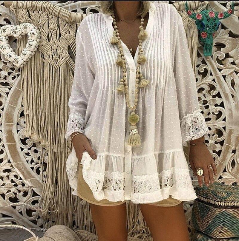 5XL Plus Size White Lace Blouse 2019 Women Summer V Neck Long Sleeve Chiffon Blouse Shirt Big Sizes Loose Ladies Tunic Tops