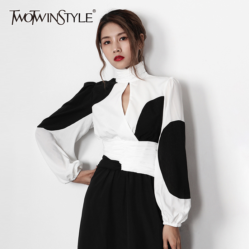 TWOTWINSTYLE Hollow Out Women's Shirts Stand Collar Lantern Long Sleeve Hit Color Shirt Blouse Female 2020 Autumn Fashion New