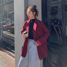 Stylish Korean Ladies Blazer Solid Red Simple Casual Suit Jacket Long Sleeve  Dames Blazer Retro Loose Women Blazer New MM60NXZ