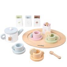 Simulation Tea Set Teapot Children's Play House Kitchen Set Afternoon Tea Dessert Ice Cream Cake Wooden Early Education Toys