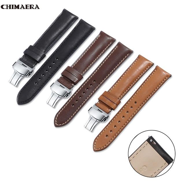 CHIMAERA Watch Band Quick Release Leather Strap 16mm 18mm 19mm 20mm 22mm 24mm Men Women Bracelet Butterfly Deployment Buckle