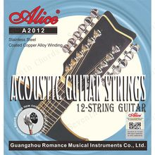 2 conjuntos alice 12 cordas de guitarra acústica aço inoxidável revestido cobre ferida 1st-12th cordas conjunto a2012