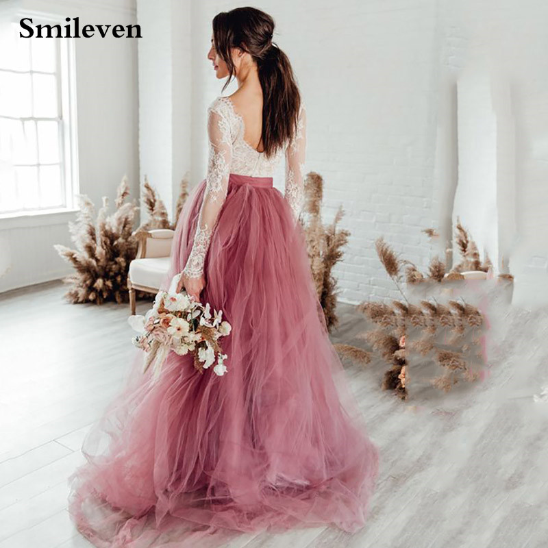 Smileven Boho Wedding Dresses A Line Dusty Pink Elegant Lace Beach Bride Dresses Train Elegant Wedding Boho Bridal Gowns