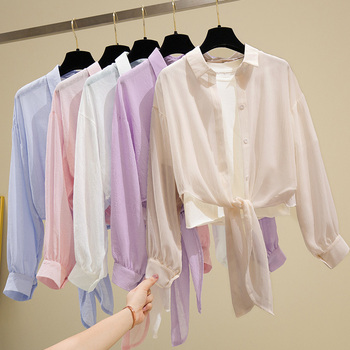 Summer Womens Tops and Blouses Long Sleeve Top 2020 Chiffon Shirt Turn-down Collar Solid Sunscreen Cardigan Office Blouse spring and autumn new 2019 chiffon shirt women s tops long sleeve v collar chiffon office printed women s blouses shirt 932i